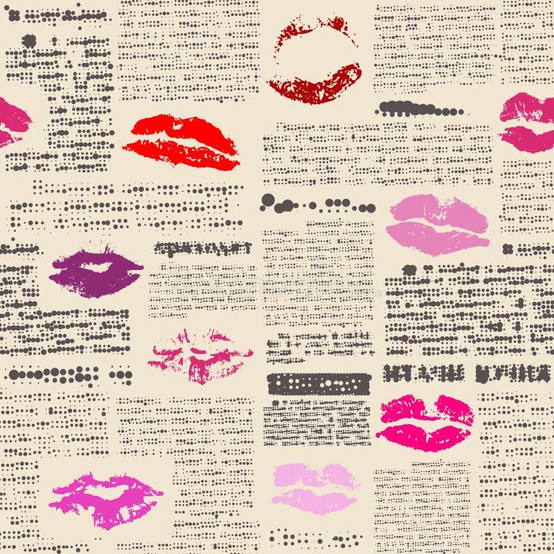 Имитация газеты с печатями губ иллюстрация вектора