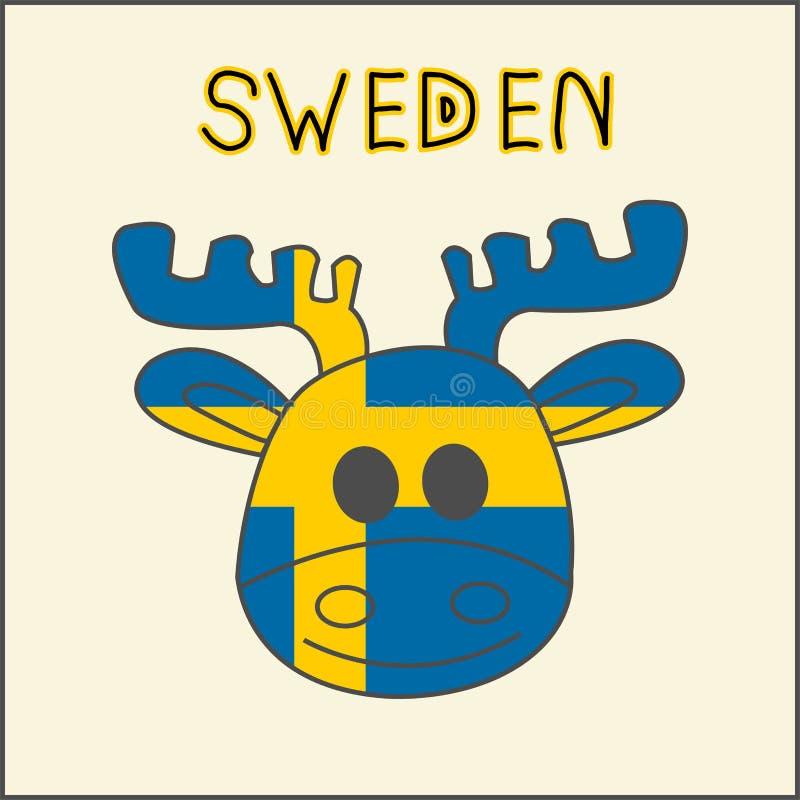 Имитация цвета флага Швеции с лосями, национальным животным иллюстрация штока