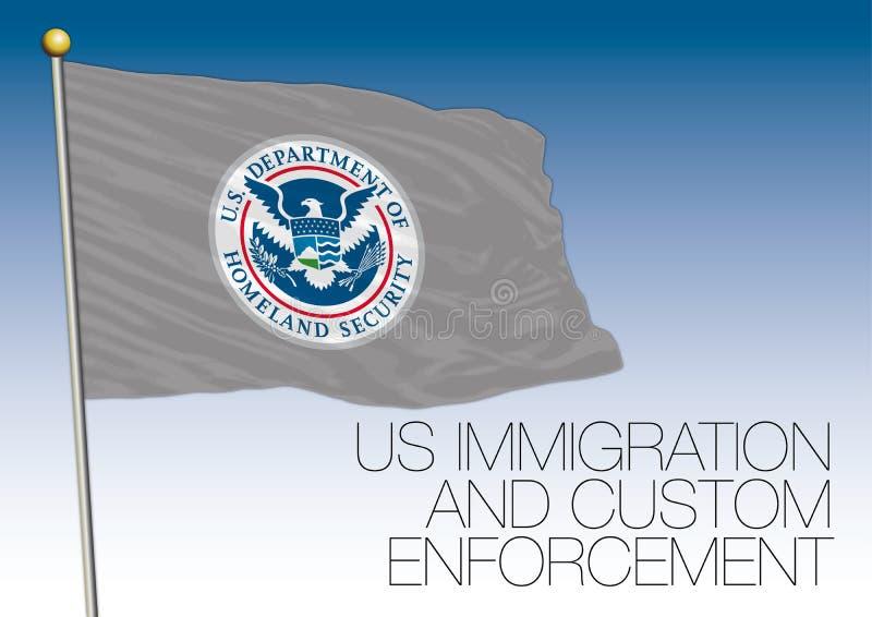 Иммиграция США и принуждение таможни сигнализируют, Соединенные Штаты Америки иллюстрация штока