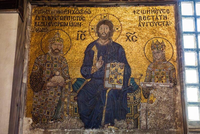 Император Константин, Иисус Христос и императрица Zoe Византийская мозаика в интерьере Hagia Sophia стоковые фотографии rf