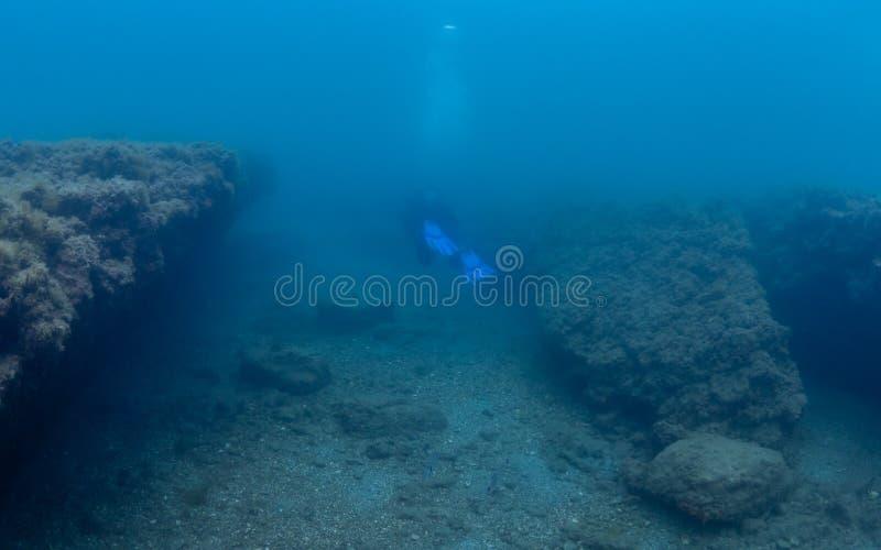 Император Claudio's Ninfeum подводный, археология стоковые изображения rf