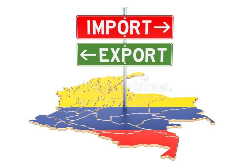 Импортируйте и экспорт в концепции Колумбии, переводе 3D иллюстрация штока