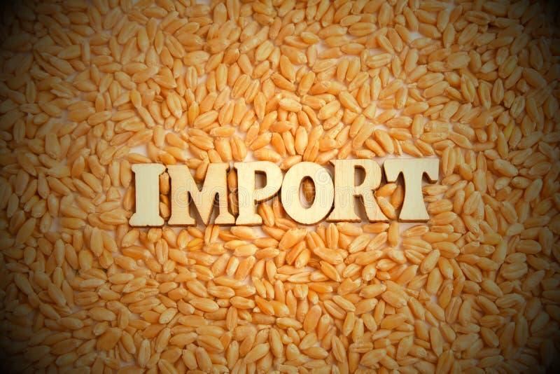 Импорт концепции зерна пшеницы Надпись деревянных писем в центре рамки Тонизировать, виньетирование стоковые фотографии rf