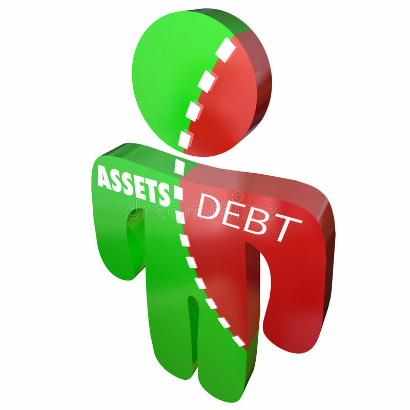 Имущества против денег задолженности задолжали финансам разделения обязательства иллюстрация штока