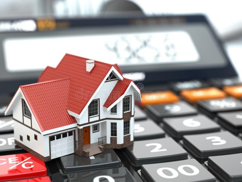 имущество принципиальной схемы реальное Дом на калькуляторе ипотека иллюстрация штока