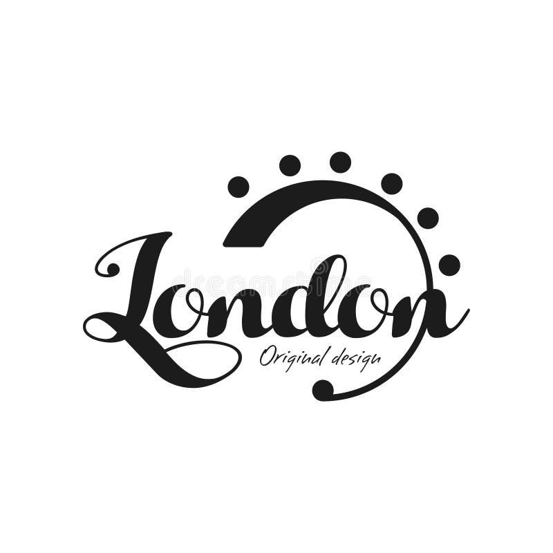 Имя города Лондона, оригинальный дизайн, надпись излишка бюджетных средств написанная рукой, дизайн оформления для плаката, карто иллюстрация штока