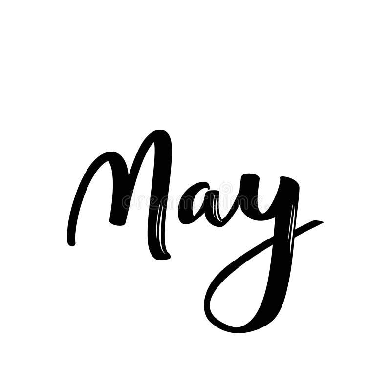 Имя месяца в мае Рукописное каллиграфическое слово Смелейший шрифт иллюстрация вектора