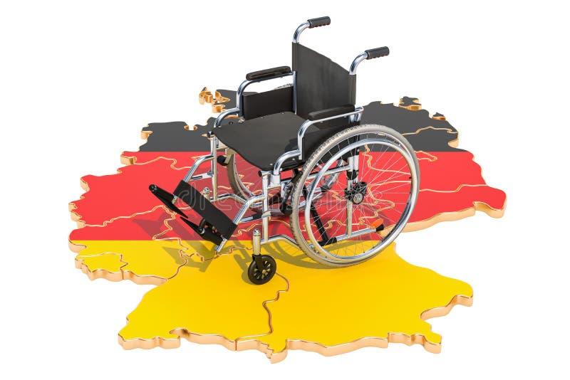 Инвалидность в концепции Германии, перевод 3D иллюстрация вектора