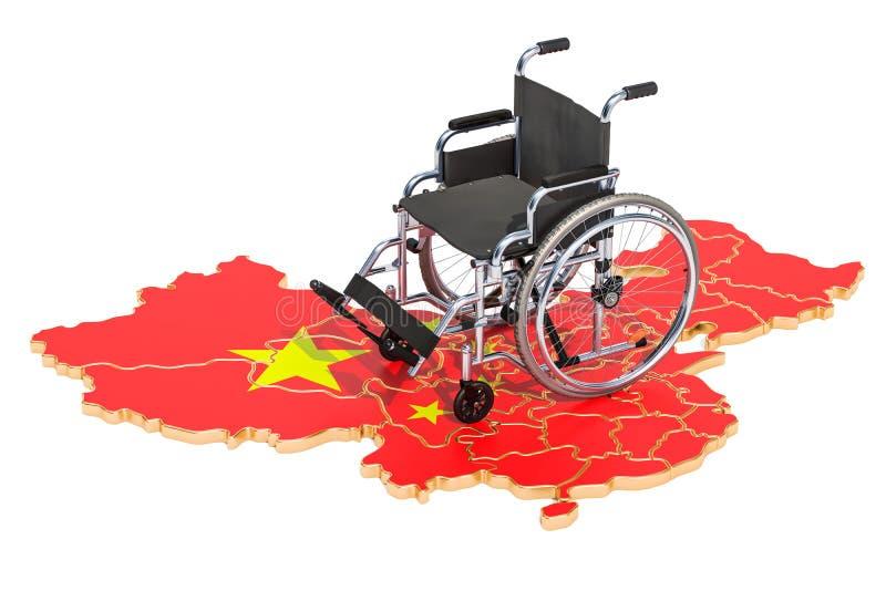 Инвалидность в концепции Китая, переводе 3D иллюстрация штока