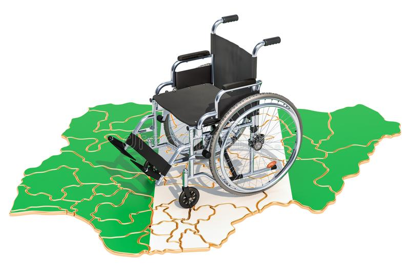Инвалидность в концепции Нигерии, переводе 3D иллюстрация штока
