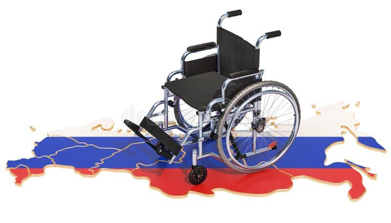 Инвалидность в концепции России, переводе 3D иллюстрация вектора