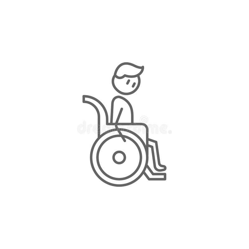 Инвалидность, значок человека физиотерапии Элемент значка физиотерапии Тонкая линия значок для дизайна вебсайта и развития, прило бесплатная иллюстрация
