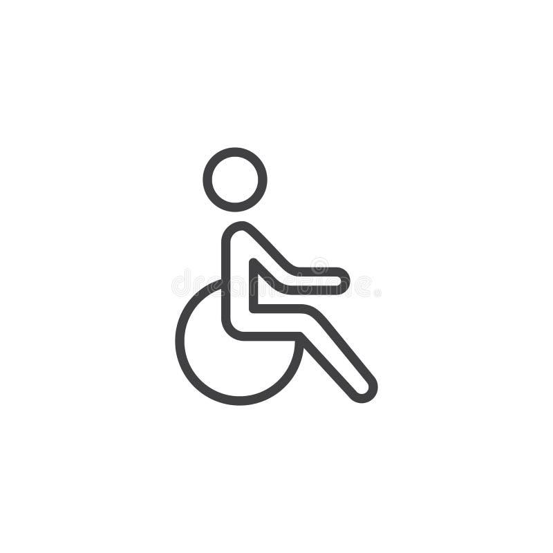 Инвалидность, линия значок гандикапа бесплатная иллюстрация