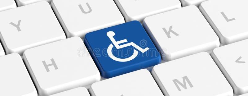 Инвалидность, с ограниченными возможностями Голубая ключевая кнопка со знаком на клавиатуре компьютера, знаменем кресло-коляскы и иллюстрация штока