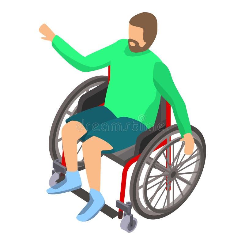 Инвалидность человека в значке кресло-коляскы, равновеликом стиле бесплатная иллюстрация