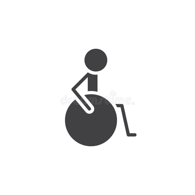 Инвалидность, вектор значка гандикапа, заполнила плоский знак, твердую пиктограмму изолированную на белизне иллюстрация штока