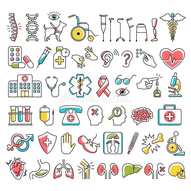 Инвалидность и медицинские знаки значков изолированные на белизне иллюстрация вектора