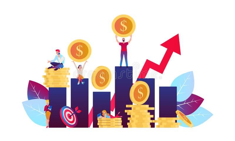 Инвестировать в будущей иллюстрации вектора Плоская идея проекта для умных вклада, финансов и банка бесплатная иллюстрация