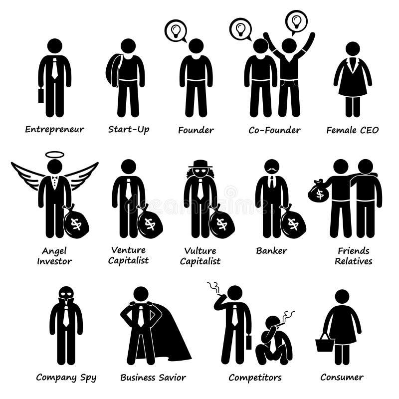 Инвесторы предпринимателя дела и конкуренты Cliparts иллюстрация штока
