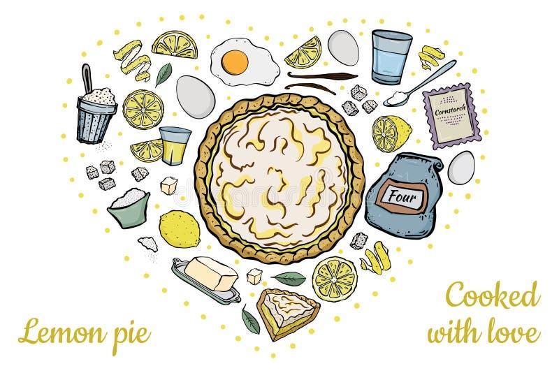 Ингредиенты для открытого пирога лимона иллюстрация штока