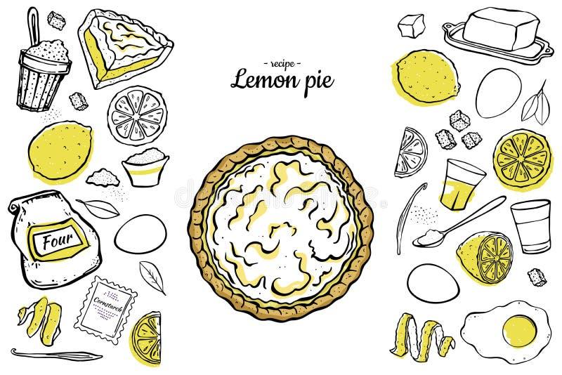 Ингредиенты рецепта пирога лимона иллюстрация штока