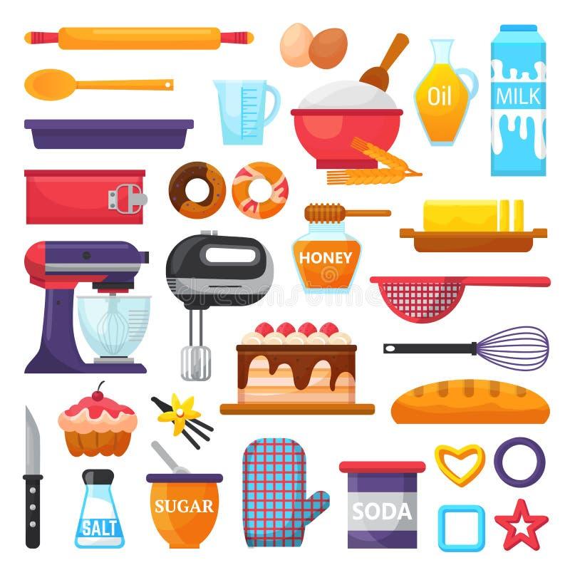Ингридиенты хлебопекарни kitchenware и еды вектора выпечки для иллюстрации торта испечь комплект варить пирожное или пирог с иллюстрация вектора