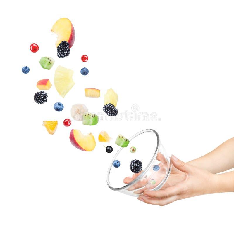 Ингридиенты летая для фруктового салата с плодоовощами как яблоки, Оран стоковые изображения