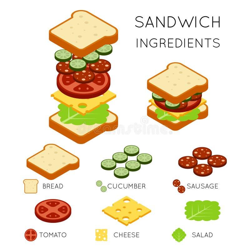 Ингридиенты сандвича вектора в равновеликом стиле 3D иллюстрация штока
