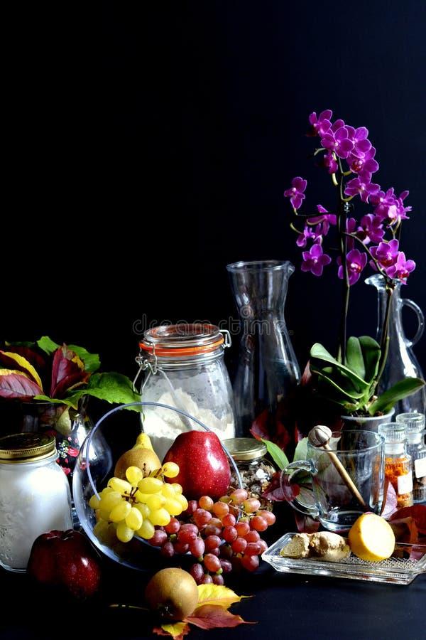 Ингридиенты торта и плодоовощи осени стоковая фотография