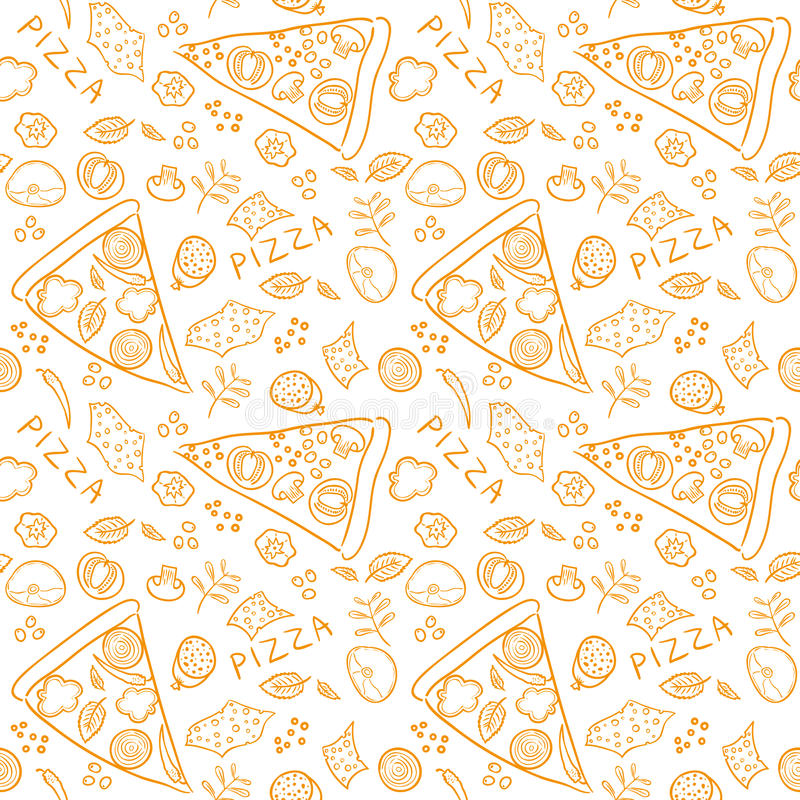 Ингридиенты эскиза пиццы - картина оранжевого вектора безшовная бесплатная иллюстрация