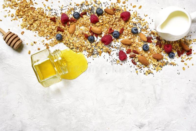 Ингридиенты для делать взгляд breakfastTop здорового питания стоковое фото