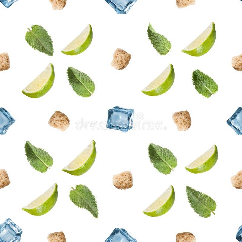 Ингридиенты Mojito изолированные на белой предпосылке стоковое изображение