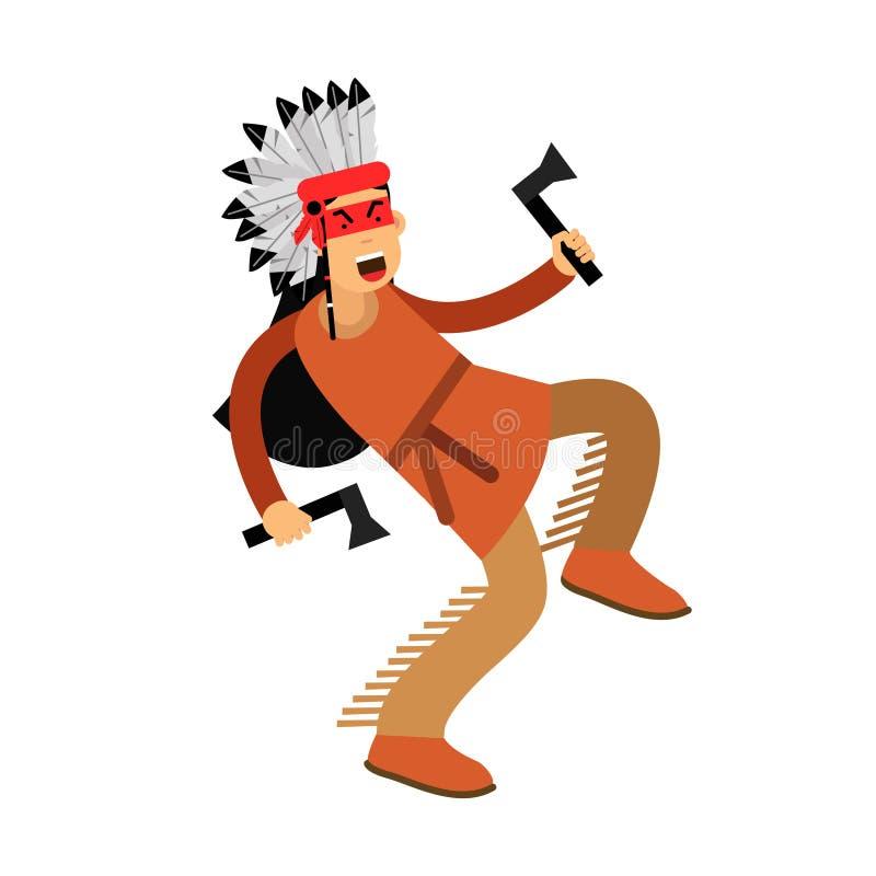 Индеец коренного американца в традиционных танцах костюма с иллюстрацией 2 томагавков иллюстрация вектора