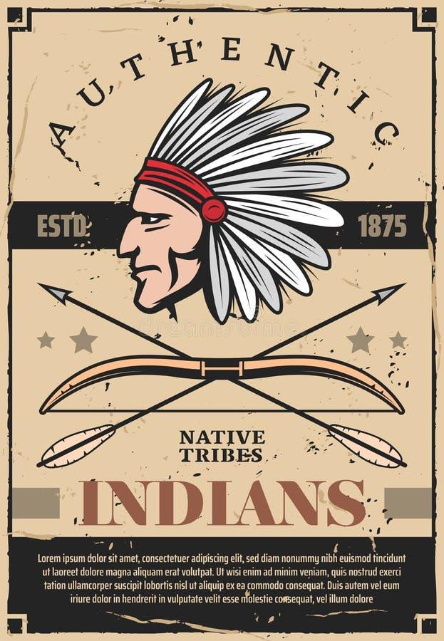 Индейцы, вождь племени коренных американцев в головном уборе бесплатная иллюстрация