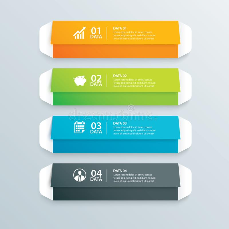 Индекс бумаги платы конверта Infographics с шаблоном 4 данных Vect иллюстрация штока