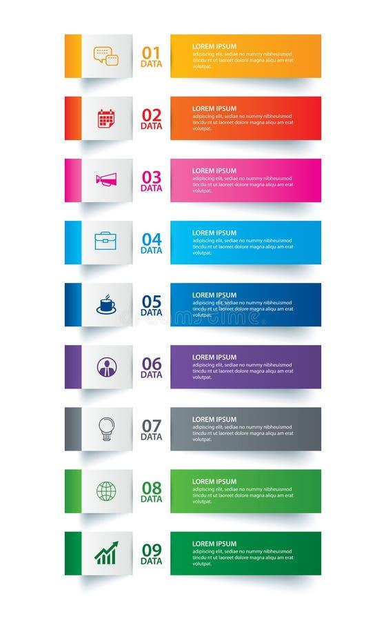 Индекс бумаги платы Infographics с шаблоном 9 данных Предпосылка конспекта иллюстрации вектора Смогите быть использовано для план бесплатная иллюстрация