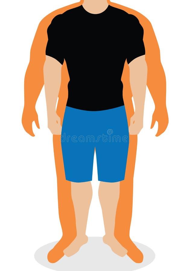 Индекс массы тела, иллюстрация Силуэты человека Мужское тело с различным весом иллюстрация вектора