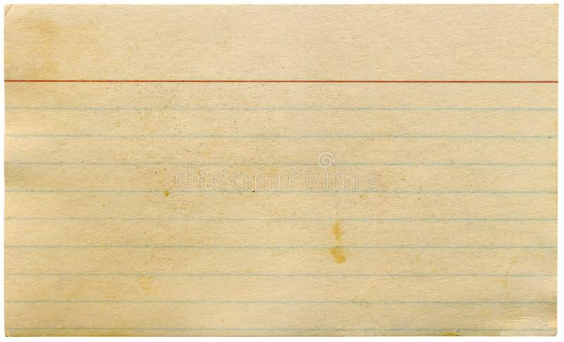 индекс пустой карточки пакостный изолировал старый желтеть стоковые изображения