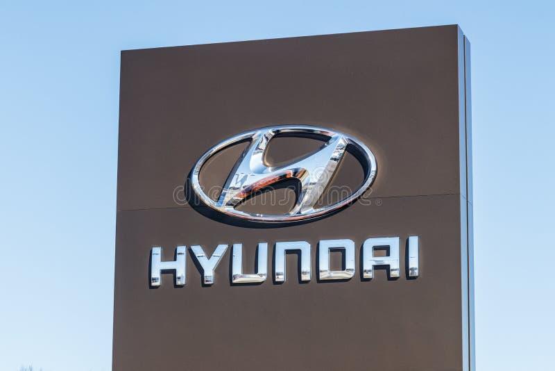 Индианаполис - около март 2018: Дилерские полномочия Hyundai Мотора Компании Hyundai южнокорейский автомобильный изготовитель i стоковая фотография