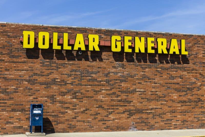Индианаполис - около сентябрь 2017: Положение доллара общее розничное Генерал доллара розничный торговец скидки маленькой коробки стоковое изображение rf