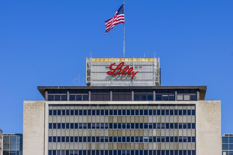 Индианаполис - около сентябрь 2017: Штабы мира Eli Lilly и компании Lilly делает медицины и фармацевтическую продукцию VII стоковая фотография