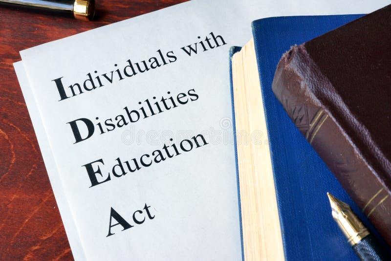 Индивидуалы с ИДЕЕЙ закона об образовании инвалидности стоковое фото rf