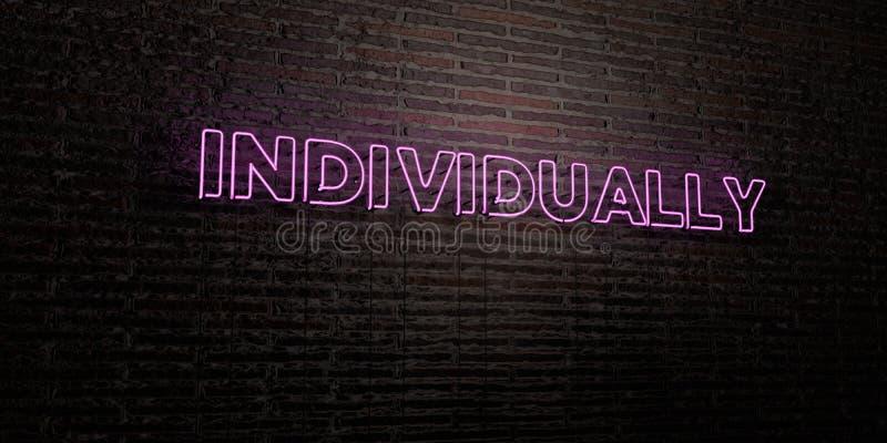 ИНДИВИДУАЛЬНО - реалистическая неоновая вывеска на предпосылке кирпичной стены - 3D представило изображение неизрасходованного за иллюстрация штока