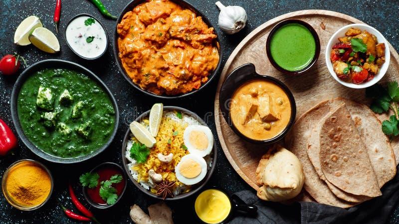 Индийская еда и индийские блюда кухни, космос экземпляра стоковые изображения