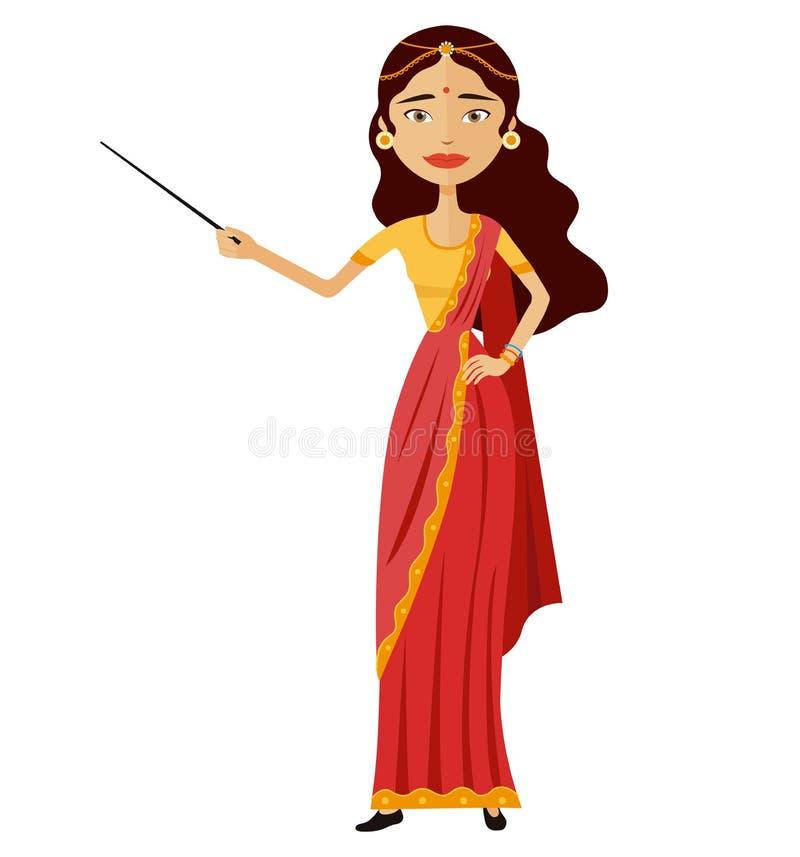 Индийская женщина представляет что-то с иллюстрацией шаржа вектора характера гувернера указателя плоской иллюстрация вектора