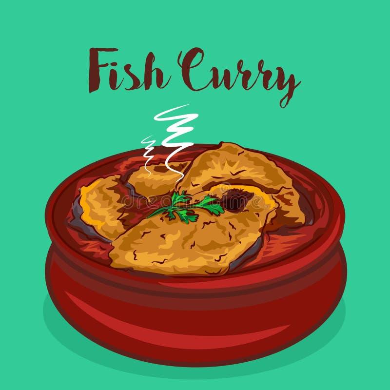 Индийская иллюстрация вектора карри рыб еды Рыбное блюдо иллюстрация вектора