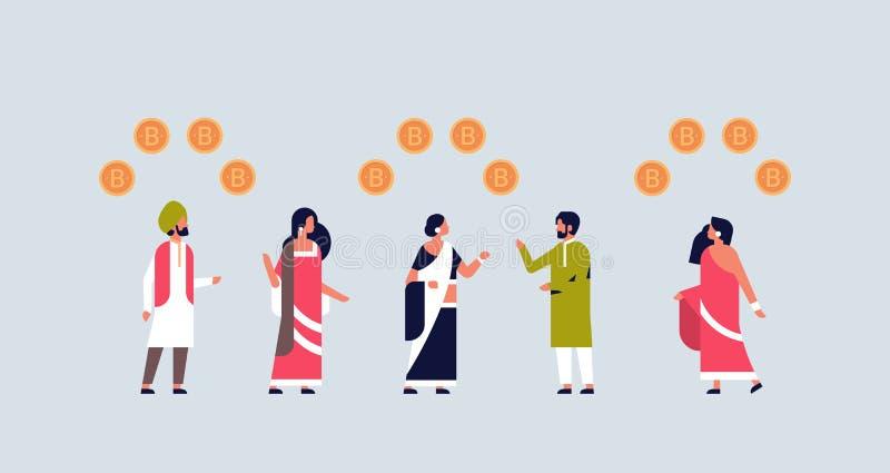Индийские бизнесмены минируя сыгранности концепции валюты bitcoin отношение стратегии секретной успешное плоско горизонтальное бесплатная иллюстрация