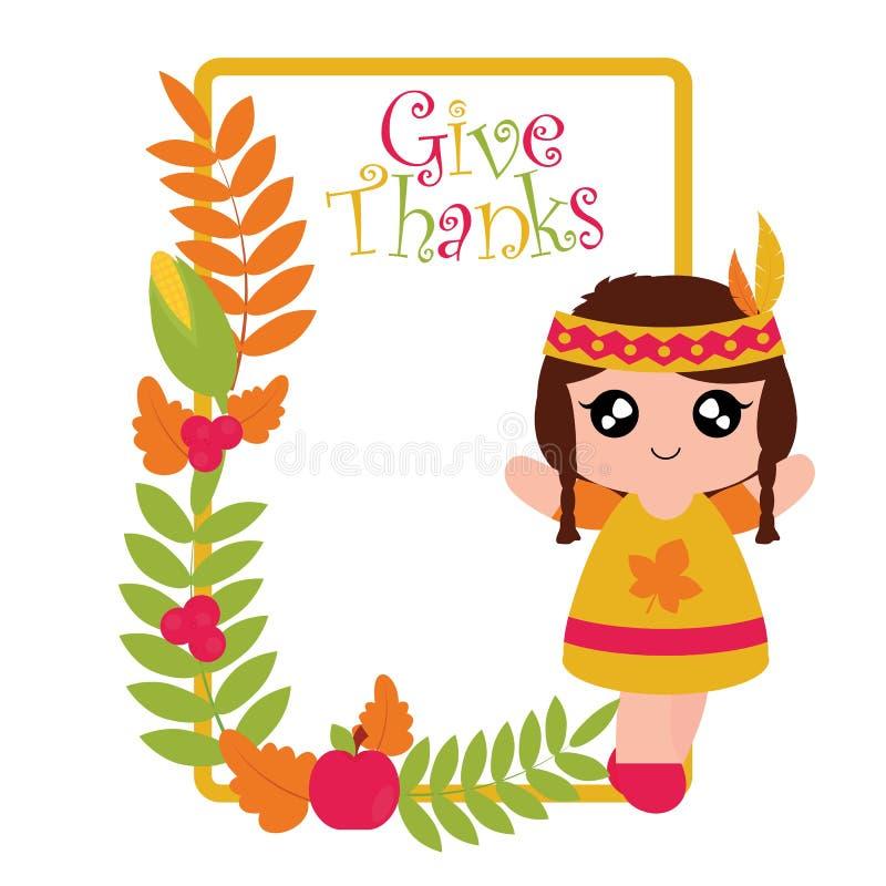 Индийские девушка, мозоль, яблоко, и рамка кленовых листов бесплатная иллюстрация