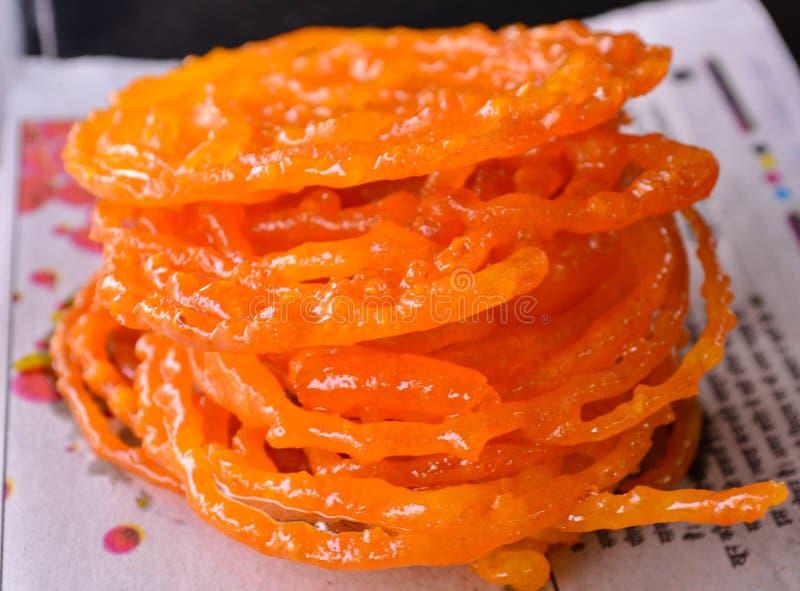 Индийские еда или завтрак улицы сладостные-Jalebi стоковое изображение