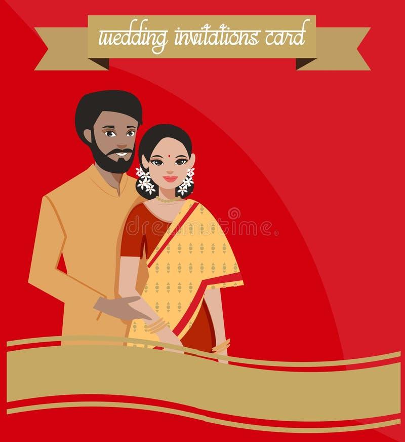 Индийские пары на карточке приглашений свадьбы иллюстрация штока
